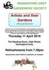 Hemingford Grey Gardeners Society - Artists and their Gardens