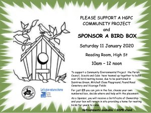 PLEASE SUPPORT A HGPC COMMUNITY PROJECT and SPONSOR A BIRD BOX
