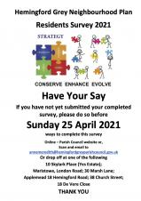 Covid-19 Survey closes on Sunday 25th April.